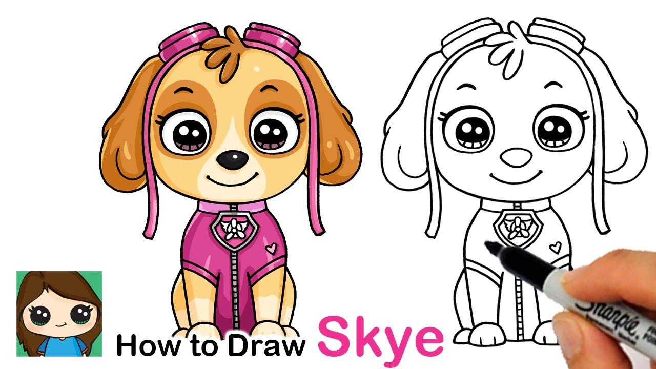 How to Draw Skye 🦴 Paw Patrol