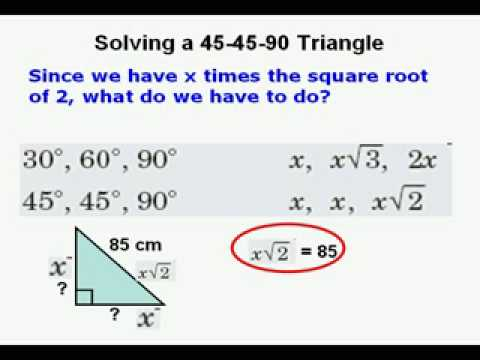 Special Right Triangles Examples Solutions Videos