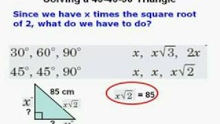 Find Sides of 45 45 90 30 60 90 Right Triangles