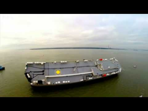 Aerial footage of stranded cargo ship in Solent