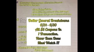 Dollar General Breakdowns 6/24-6/30   All $5 Coupons In 1 Transaction. All Digital. Must Watch !!