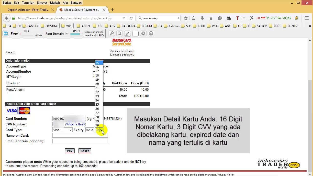 Lokal Deposit Instant Axitrader Verify by VISA