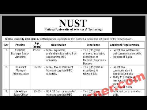 NUST Islamabad Jobs 2018 National University of Science & Technology Vacancies Advertisement