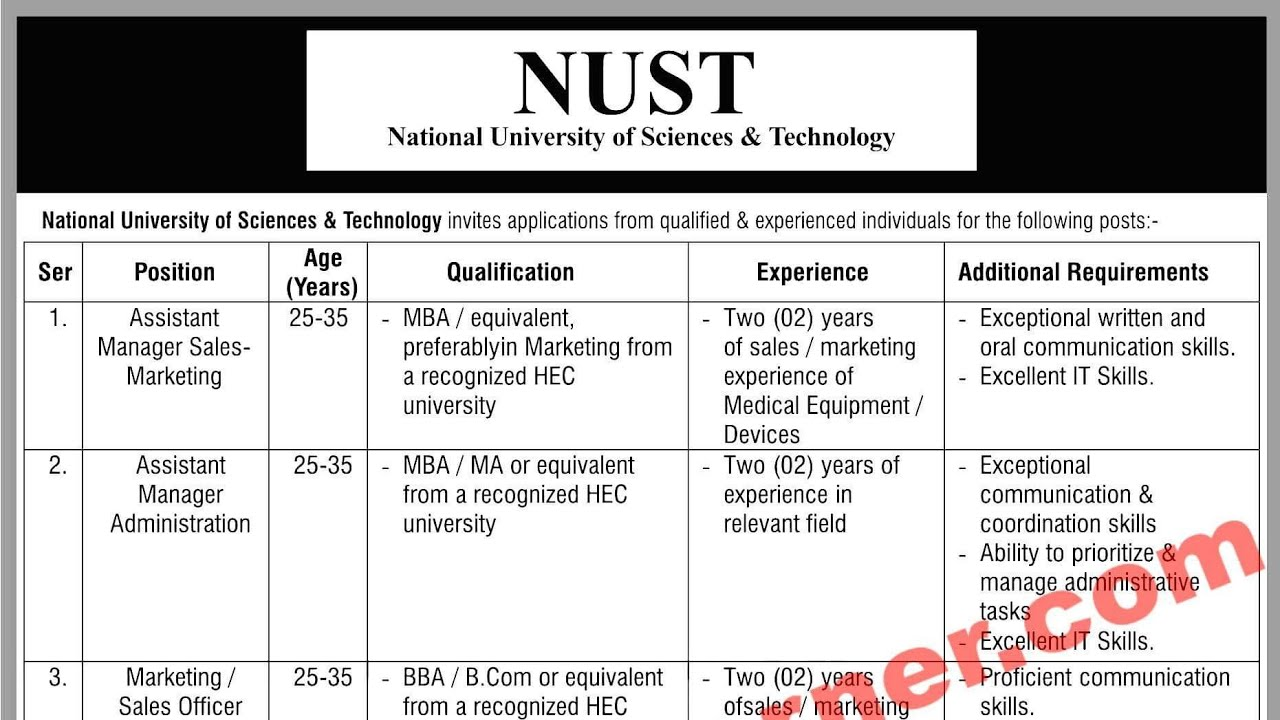 NUST Islamabad Jobs 2018 National University of Science & Technology  Vacancies Advertisement