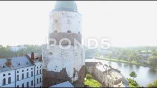 Flying Around Very Old Castle In Viborg Sunny Day