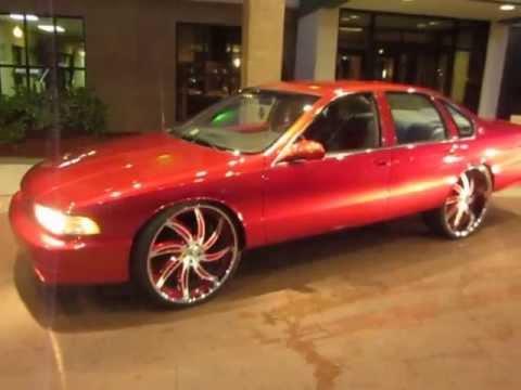 """Denver Broncos Sylvester Williams Candy Red 1996 Impala SS on 26"""" Forgiatos / Johns Restoration"""