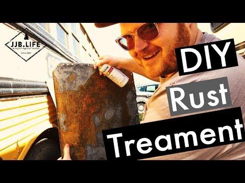 DIY Metal Rust Treatment | Skoolie Bus Conversion Tiny House Videos