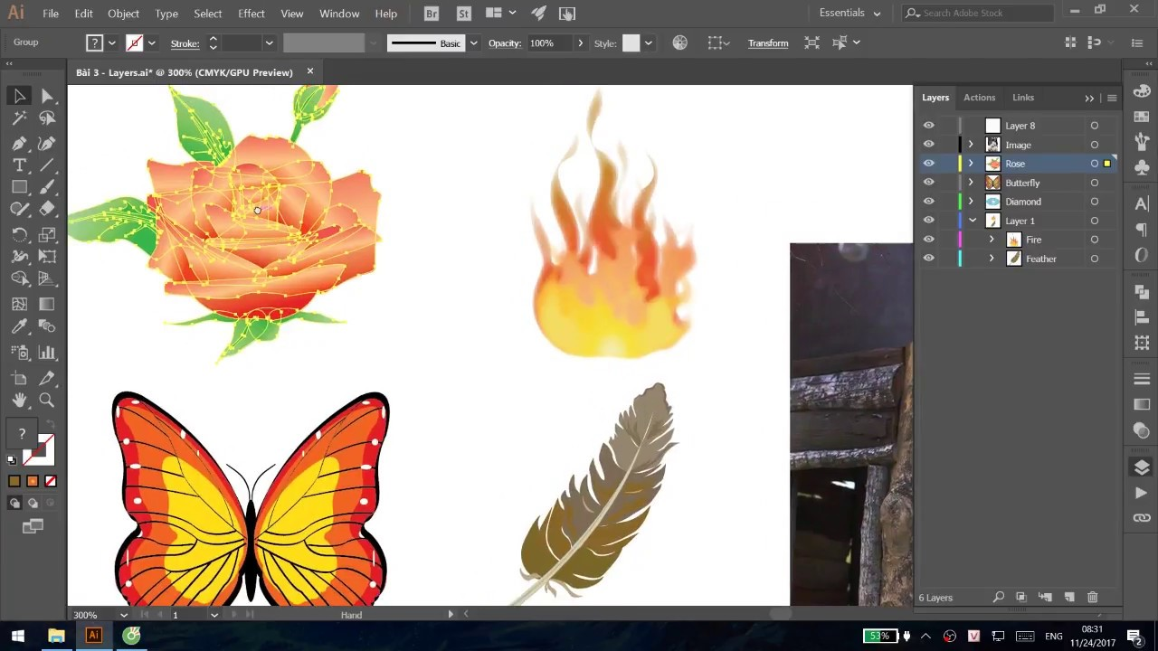 [Bài 3] Làm việc với Layers trong Illustrator – Illustrator Căn Bản | Thằng Lười – Đồ Họa Online