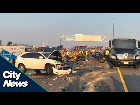 Shocking footage of minor crash turned major on the 401