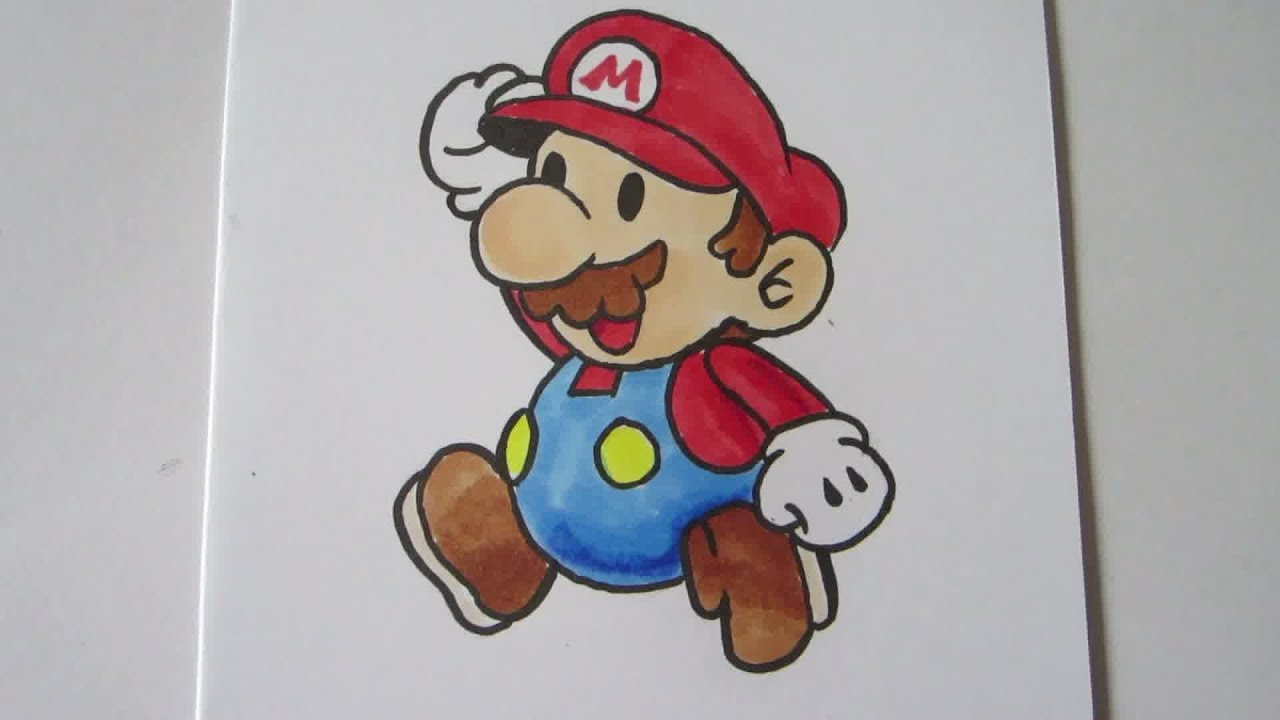 How to draw Paper Mario Mario real time   YouTube
