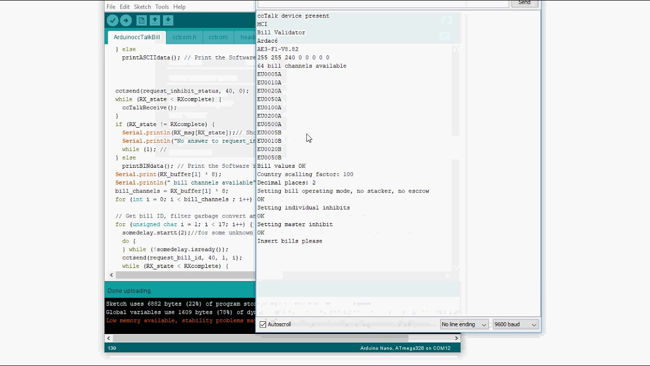 Arduino ccTalk bill example
