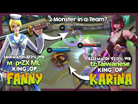"Legend of Karina tz·Taiwanese ft Legend of Fanny м√ρ•ZX ML? ""2 Monster Combo"" ~ MLBB"