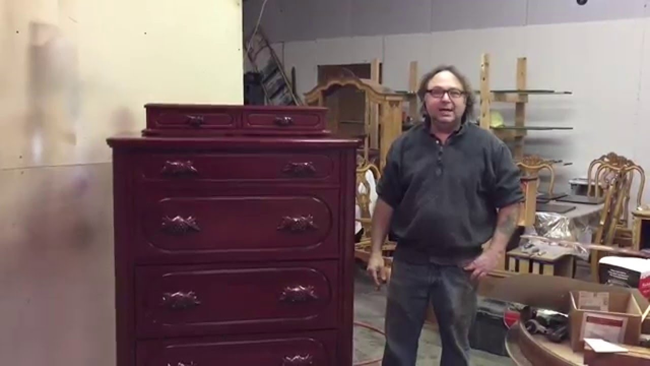 refinishing a lillian russel cherry dresser finished - YouTube