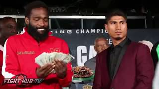 Adrien Broner flashes crazy money stack at Mikey Garcia