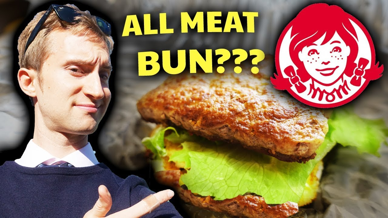 Japanese Food Trying An All Meat Bun Burger At Wendys Japan