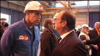 François Hollande pris à partie par un militant CGT sur les chantiers de Saint-Nazaire