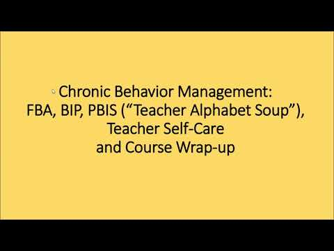Chronic Behavior Management, Alphabet Soup, SelfCare