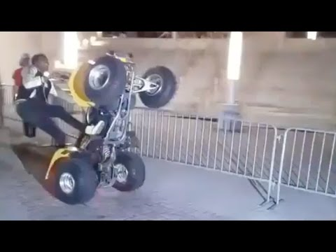 Meek Mill, Chris Brown & Fabolous have a wheelie competition before the party tour concert in Miami
