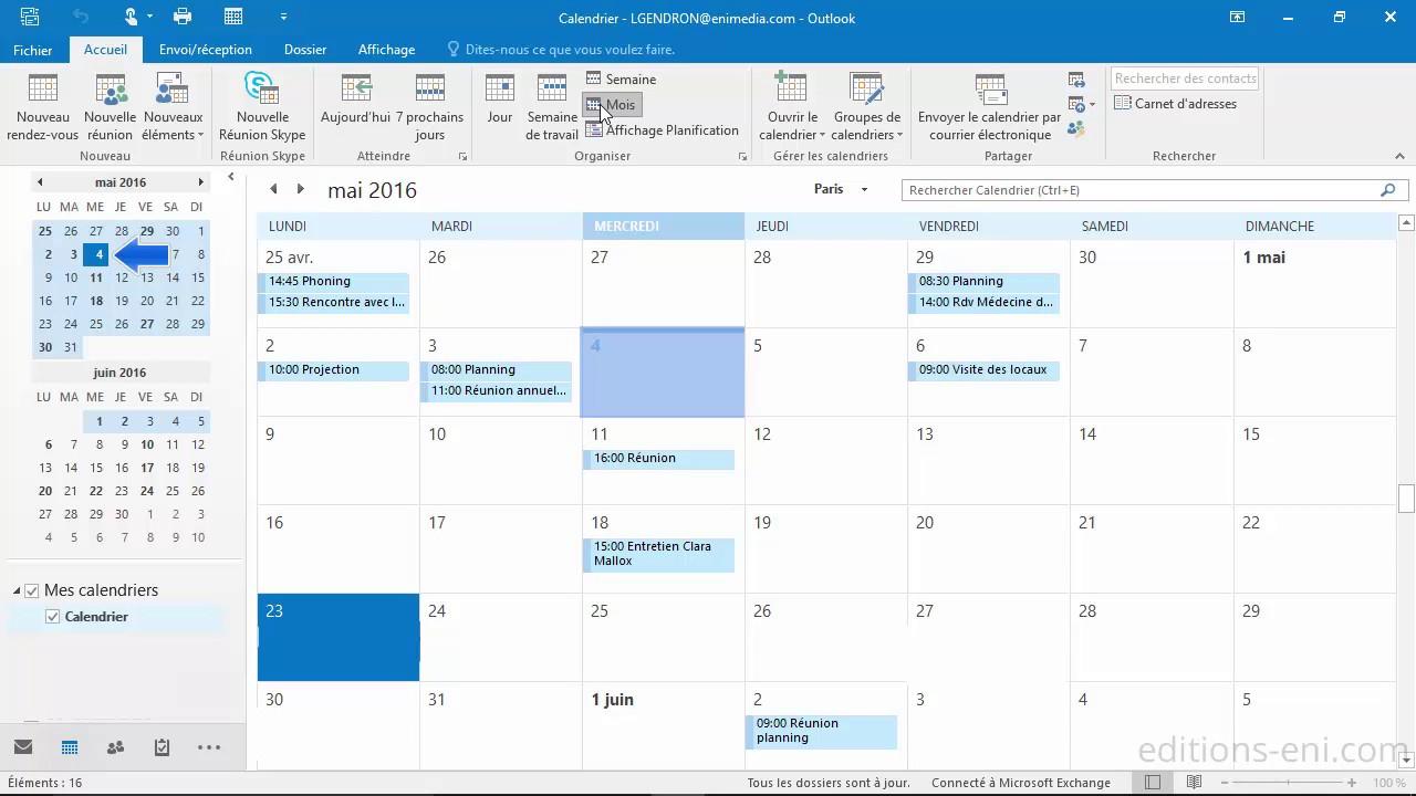 Supprimer Calendrier Outlook.Outlook 2016 Utilisation Du Calendrier