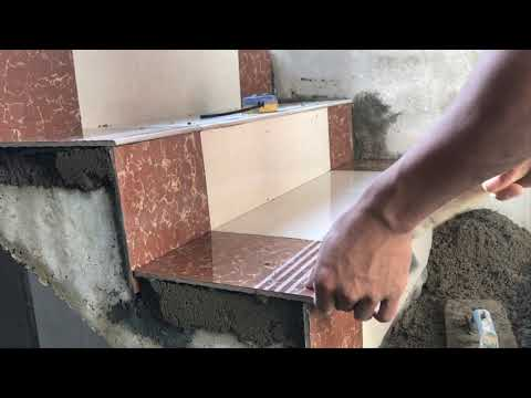 Construction Concrete Stair Floor Tile Installation Process