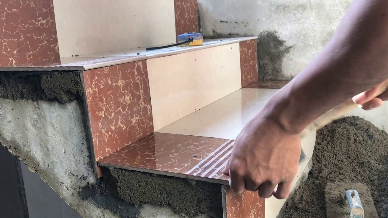 Construction Concrete Stair Floor Tile Installation Process Youtube | Stair Side Wall Tiles Design | Contemporary | Stencil | Outside | Single | Stair Outdoors