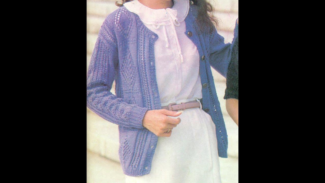 Patrón para tejer suéter abierto en bonheur a 2 agujas - YouTube