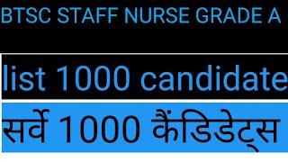 Btsc स्टॉफ नर्स //btsc staff nurse सर्वे  list//2020 लेटेस्ट अपडेट news