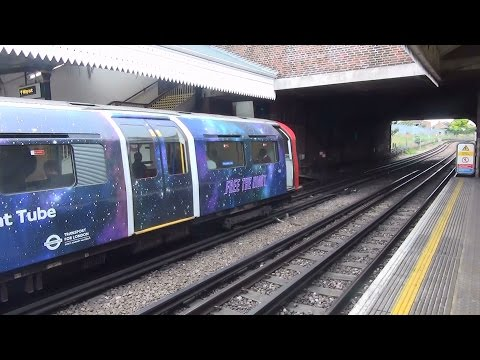 (HD) London Underground 1973 Stock 103 + 252 'The Night Tube' livery at Boston Manor. 24.8.15