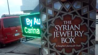 "moreHow to promote a book, led sign to promote books, ""The Syrian Jewelry Box"" LED Advertiser v2 promoting a book in front of Rock & Roll Hall of FAME Cleveland July 3, 2015"