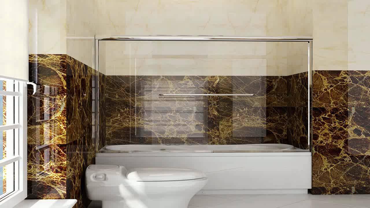 New 60 Frameless Bypass 2 Sliding Tub Bathtub Shower Door 14 Clear ...