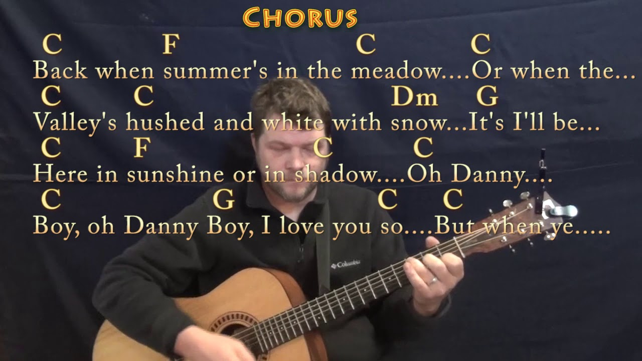 Danny Boy Traditional Guitar Lesson Chord Chart In C With Chords