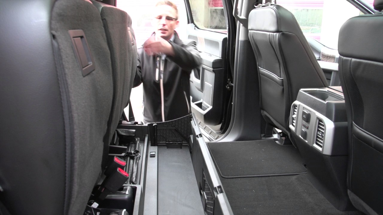 Rear Seat Storage and Flat Load Floor on the 2017 F 350 - YouTube