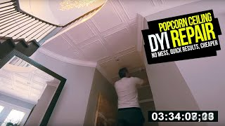 How To FIX / REPLACE POPCORN CEILINGS. No Mess, No Scraping, Fast Results DIY Popcorn  Repair