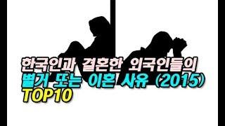한국인과 결혼한 외국인들의 별거 또는 이혼 사유 (2015) TOP10