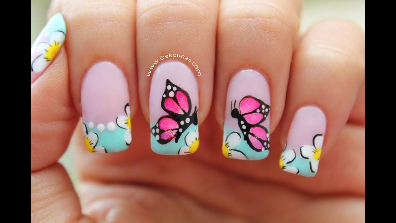 Decoracion de u as mariposas butterfly nail art tutorial for Decoracion de unas de rosas