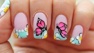 Decoracion de uñas mariposas - Butterfly nail art tutorial