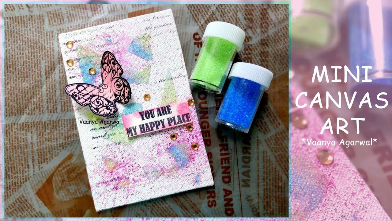 Diy mini canvas artwork vaanya agarwal making mini canvas with craftyscrappers paints