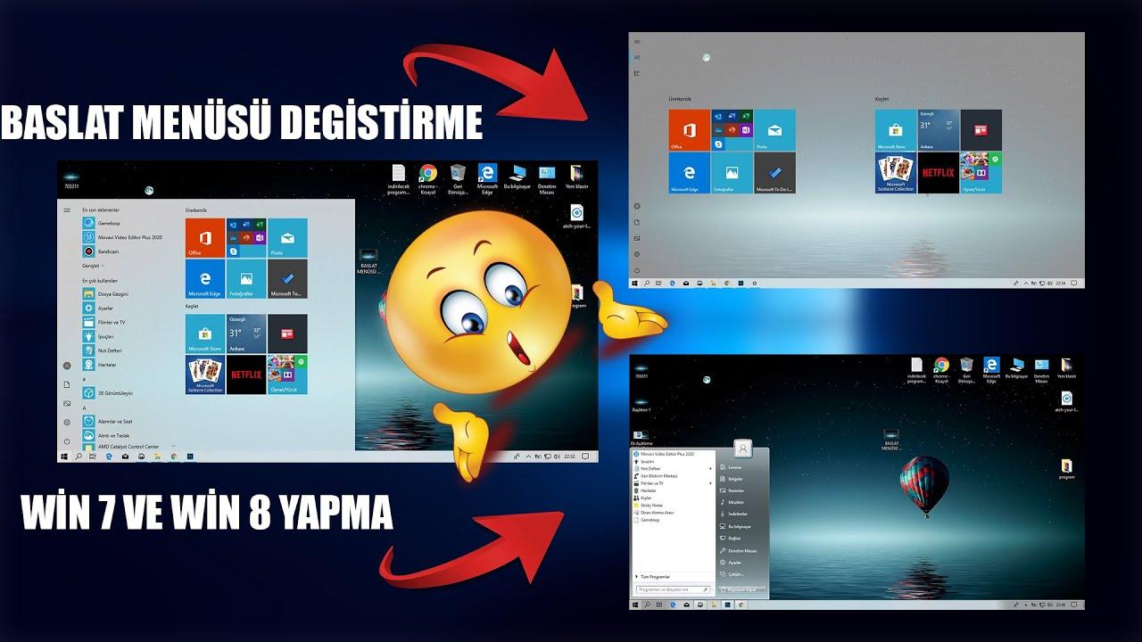 Başlat menüsü simgesi değiştirme (windows 10,8,7 ve xp )