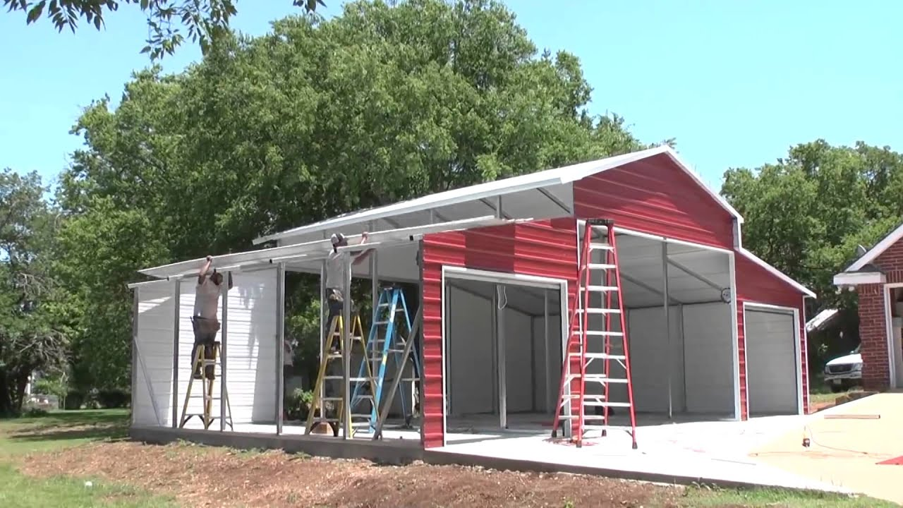 Prefab Carports Texas : Stallion carports texas on site barn metal youtube
