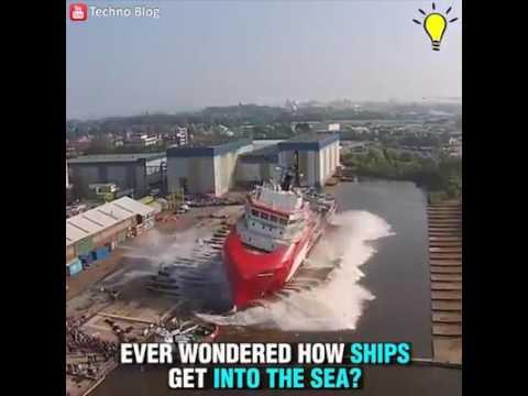 Mega navi uscita dal cantiere navale provoca onde anomale