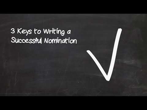 Writing a Successful Nomination