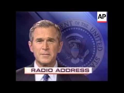 Bush radio address on final push for UN support against Iraq
