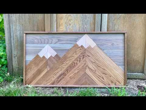 How to make a Wooden Mosaic Mountain Wall Art - DIY