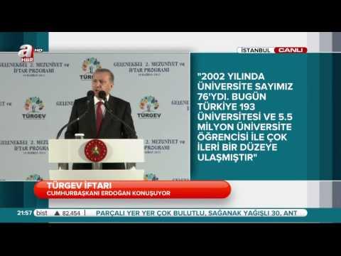 Cumhurbaşkanı Recep Tayyip Erdoğan`ın Türgev İftarındaki Açıklaması 19.06.2015