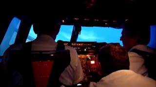 BA flight crew test the Concorde Simulator at Brooklands Museum - Takeoff