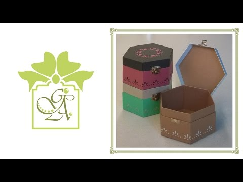Flush Sided Hexagonal Box With Hinged Lid and Hasp Fastening © (Gift Box Tutorial)