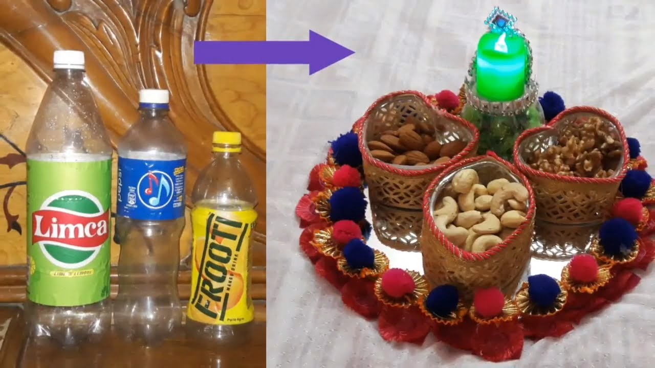 Dry fruit packings waste bottle craft diy dry fruit tray for Decoration with waste bottles