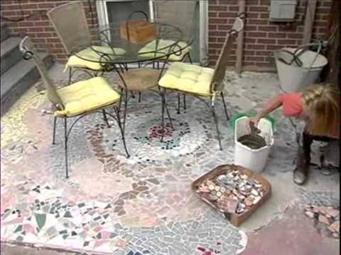 How to Make a Recycled Tile Mosaic Patio - YouTube