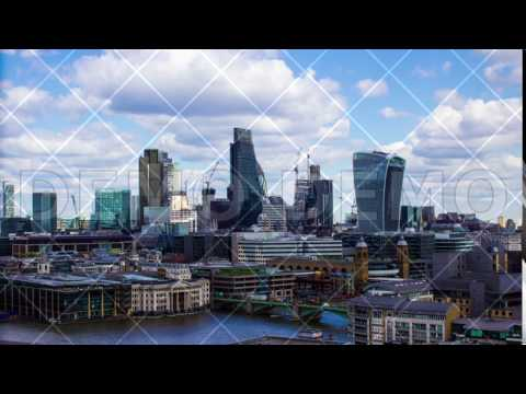 Business Buildings and Thames River, London, Uk, Time Lapse, 4k