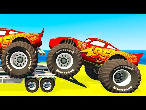 Thumbnail: Lightning McQueen CARS Transportation & Spiderman Kids Cartoon w Colors for Children Nursery Rhymes